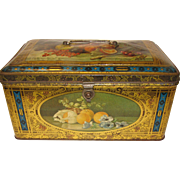 Lovely Colors on this Vintage Early Biscuit Tin Woud & Bekkers