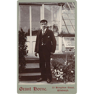Cabinet Photograph Card of Young Man Outside a Green House