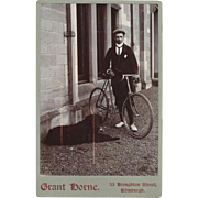 Fantastic Cabinet Photograph with Young Man, Bicycle, Dog