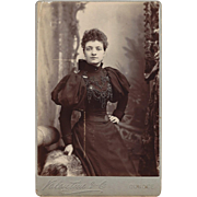 Cabinet Photograph of Young Woman in a Lovely Dress