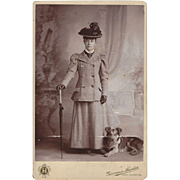 Cabinet Photograph Card of Lady with Victorian Suit, Hat, Umbrella, & Dog