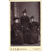 Cabinet Photograph Card of Three Ladies, Victorian Dress & Hats
