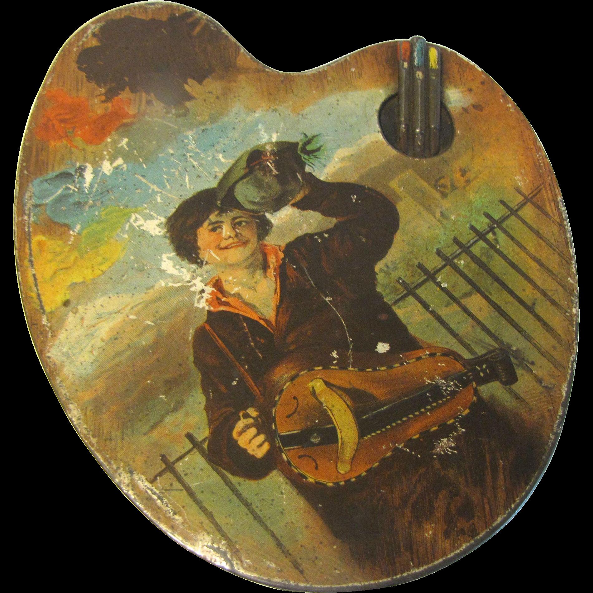 Huntley & Palmers Antique Biscuit Tin ARTIST PALETTE