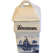 Vintage Delft Spice Jar, CINNAMON, Made in Germany