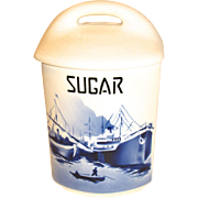 Delft SUGAR Canister w/Lid Czechoslovakia Yvonne 357
