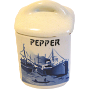 Delft PEPPER Spice Jar (Canister) w/Lid Czechoslovakia Yvonne