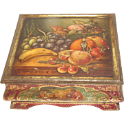 Very Early British Tin Casket, Fruit Still Life, Meredith & Drew
