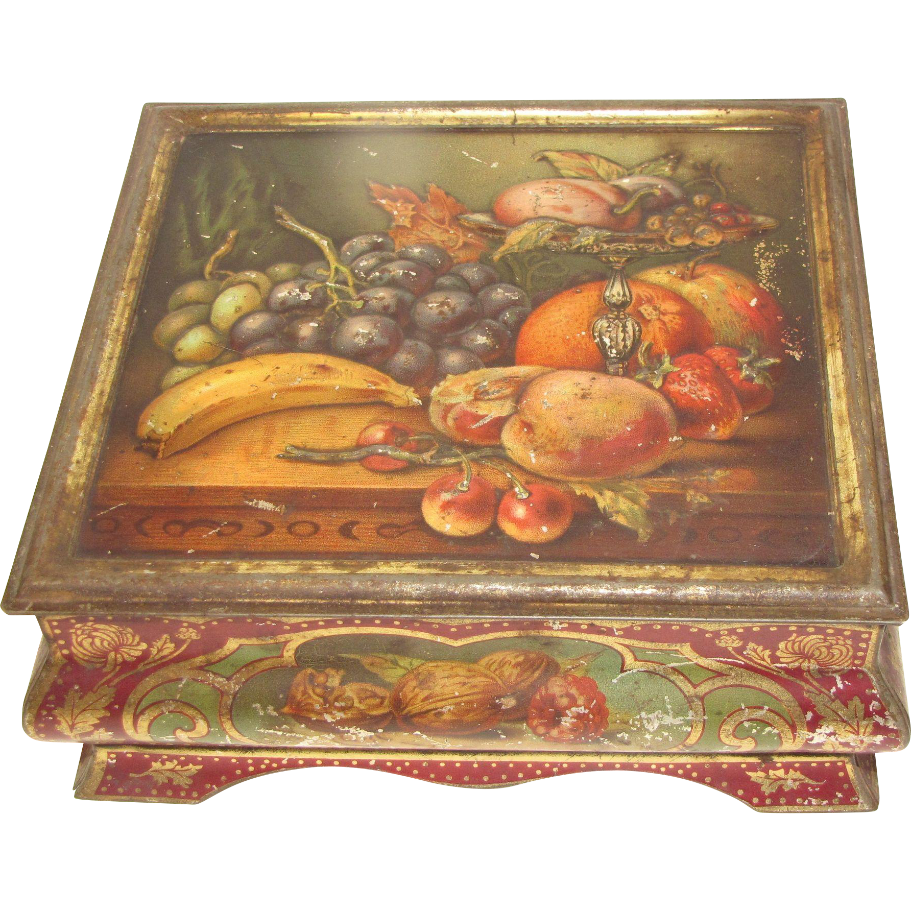 Very Early British Tin Casket, Fruit Still Life, Meredith & Drew