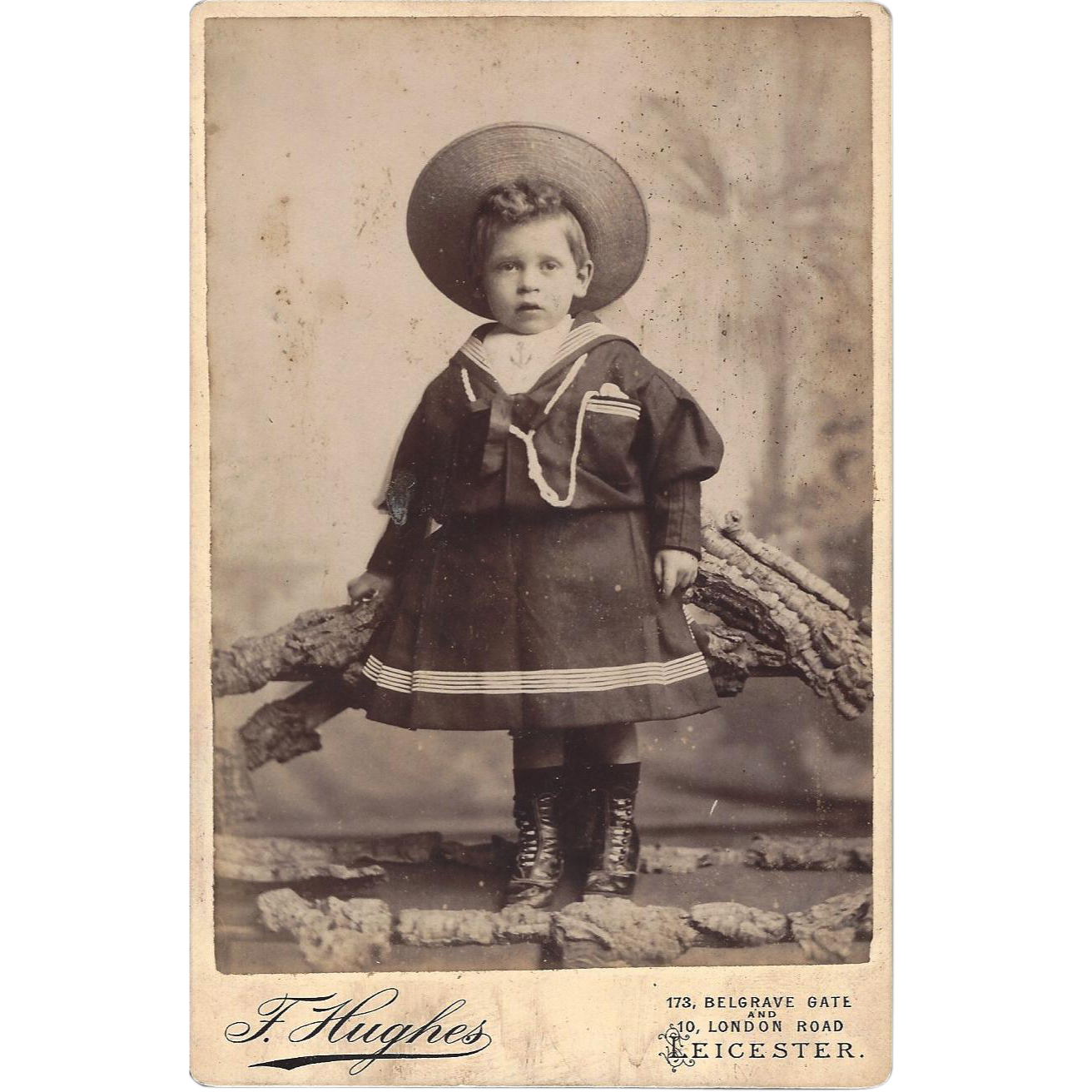 Cabinet Photograph Card Child with Sailor Dress and Hat
