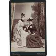 Cabinet Photograph Card, Two Ladies in Fancy Victorian Clothing