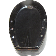 Most Unusual Papier Mache Snuff Box, Horse Shoe