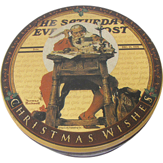 Vintage Round Norman Rockwell Christmas Tin