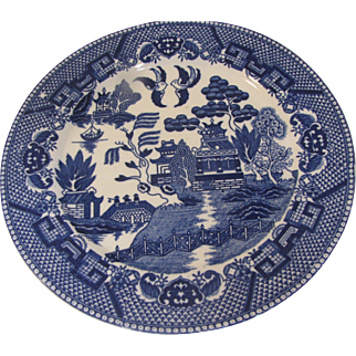 Early Blue Willow Dinner Plate, Marked Japan