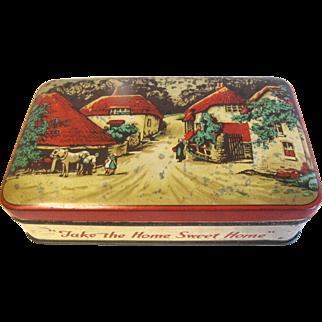 Vintage Blue Bird Toffee Tin, Country Village Scene