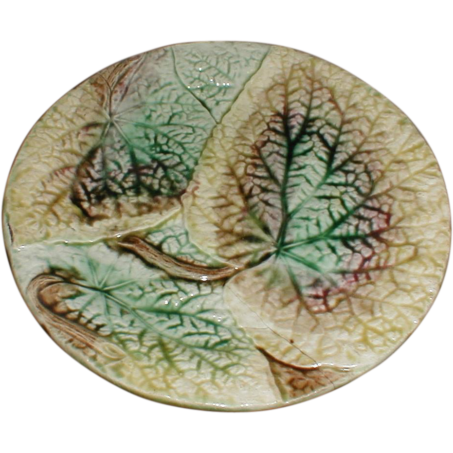 Antique Majolica Overlapping Begonia Leaves Plate