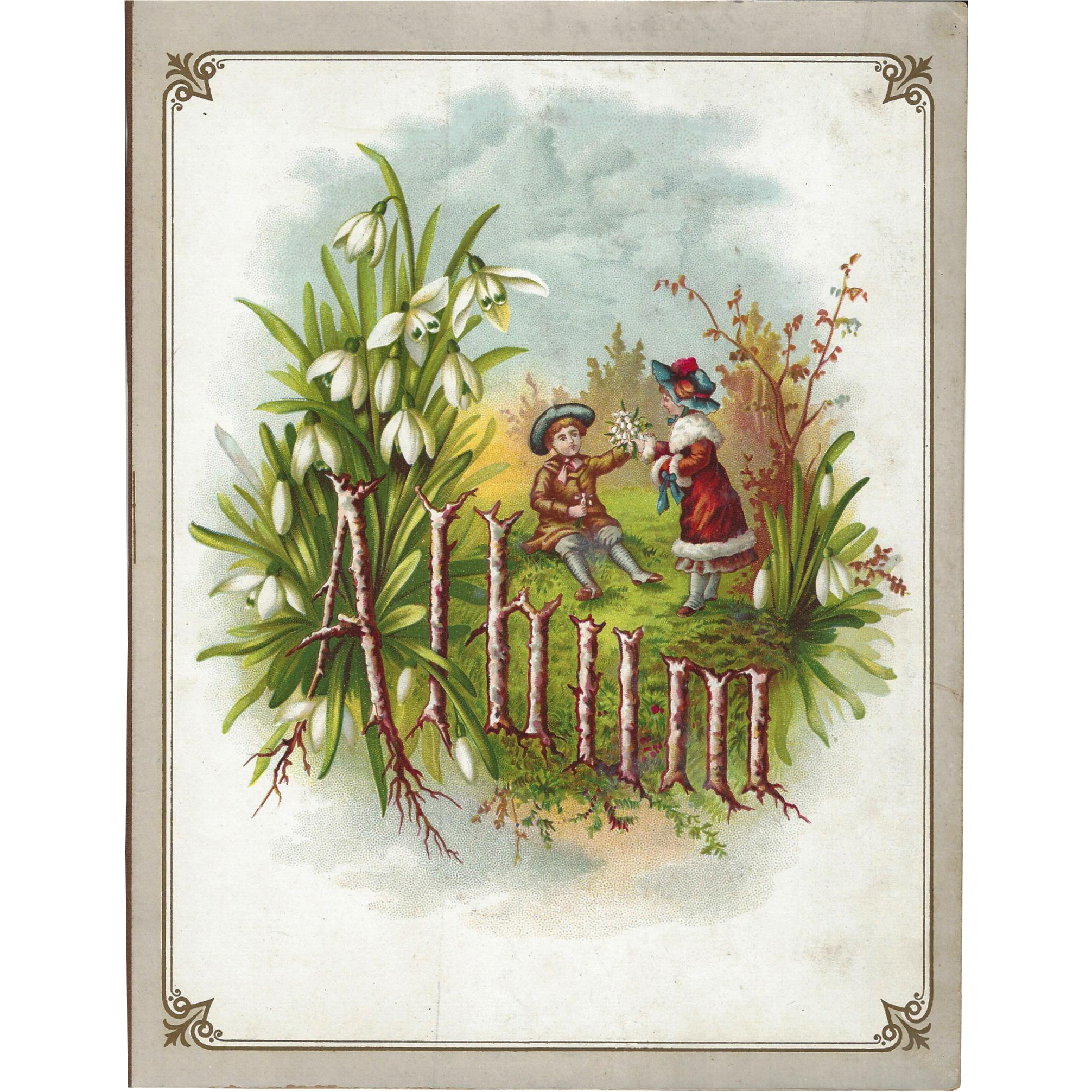 Title Page from Victorian Photograph Album, Chromolithograph Children