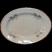 Large Oval Bluebird Platter, K T & K, Bluebirds in Apple Blossoms