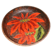 Outstanding Large Pyrography Bowl, Painted Poinsettias