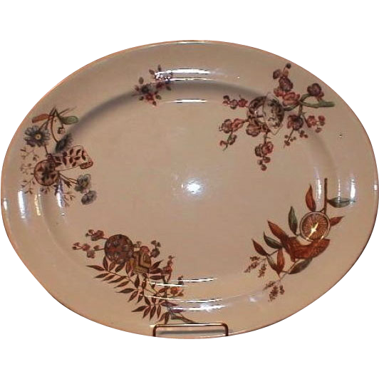 19th Century Aesthetic Brown Transferware Platter, Furnival