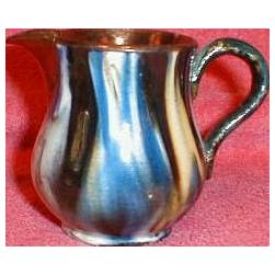 Small Copper Lustre Pitcher, Unusual Multicolor Glaze