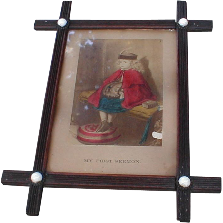 Lovely Chromolithograph in Criss-Cross Frame, FIRST SERMON