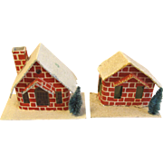 Vintage Cardboard Red Brick Houses for Christmas Village Japan