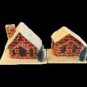 Vintage Cardboard Red Brick Houses for Christmas Village Japan