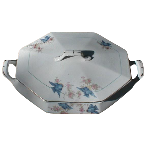 Lovely Bluebird China Vegetable Bowl w/ Lid, Octagon Shape, Unmarked
