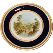 Lovely Gilded Cobalt Rimmed Cake Plate w/Hand Painted Landscape