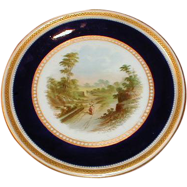 Lovely Gilded Cobalt Rimmed Cake Plate w/Hand Painted Landscape