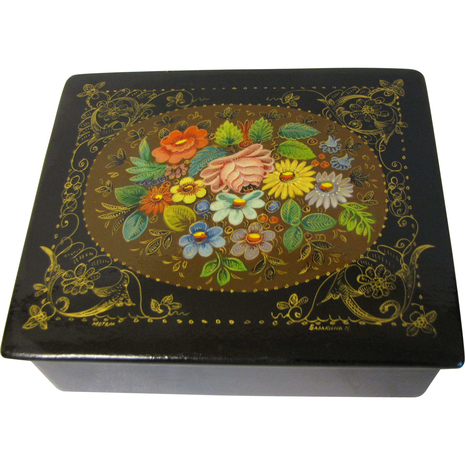 Vintage Russian Black Lacquer Box, M'stera, Floral, Signed