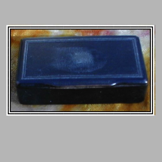 Antique Black Papier (Paper) Mache Snuff Box