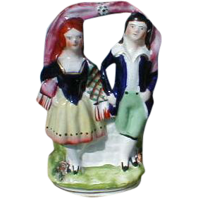 19c. Victorian Flatback Staffordshire Group Figure, Dancers