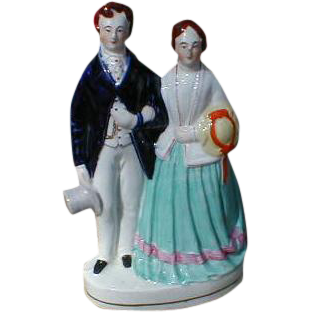 19th C. Victorian Flatback Staffordshire Group Figure, Unidentified
