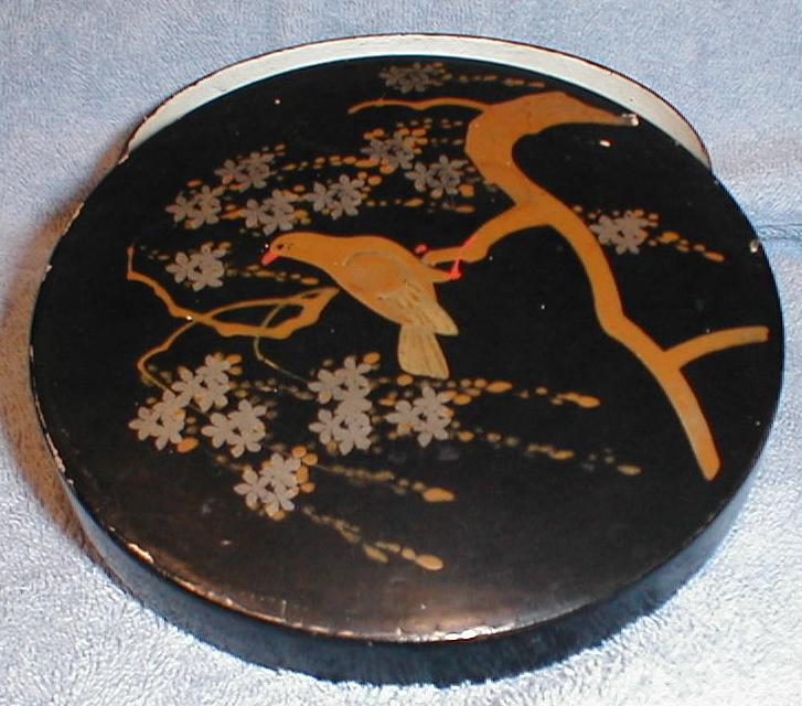 Vintage Round Paper Mache Box, Oriental with Bird in Tree