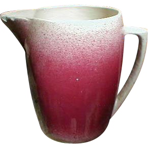 Large Red Spatter Crock Pitcher, Unmarked