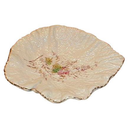 Lovely White Majolica Begonia Leaf Dish or Tray, Enamel Flowers