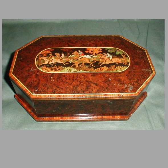 Gorgeous Huntley & Palmers Biscuit Tin, Marquetry Horse Race