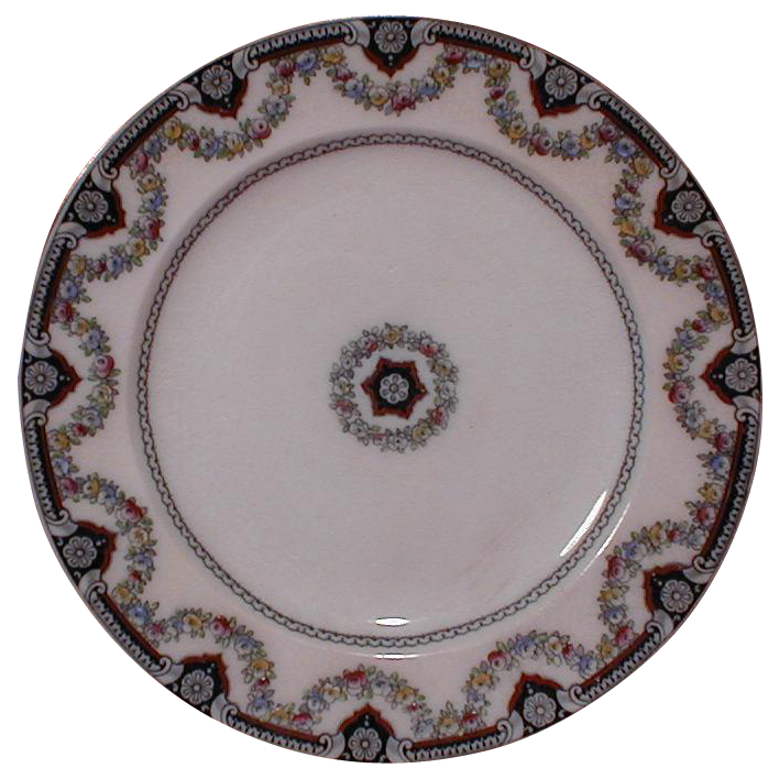 Lovely Enameled Flow Blue Plate, ALEXANDRA, Wedgwood & Co.