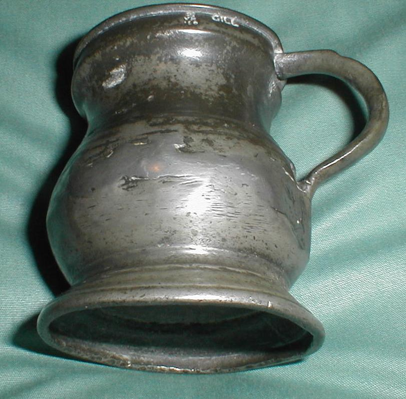 Antique Pewter Measure, Repaired, Marked with Crown, VR, Gill