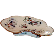 Enameled Flow Blue Crescent Dish, Crown Mark, 19th. Century
