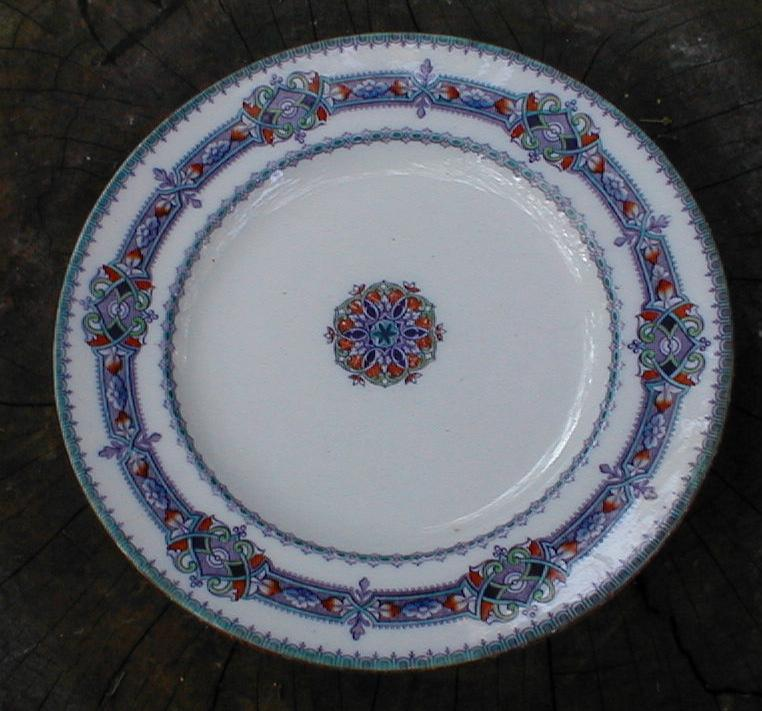 Lovely Lavender Printed Plate w/Colorful Enamels, MAGENTA
