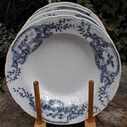 Lovely Set of 4 Small Flow Blue Porcelain Soup Plates, TILL