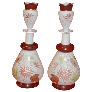 Matched Pair of Bristol Scent Bottles, Painted and Gilded Birds and Flowers