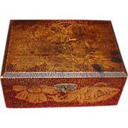 Lovely Flemish Art (Pyrography) Letter Box, Poppies