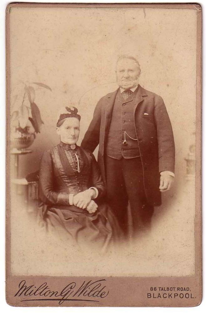 Cabinet Photo of Stately Man & Woman Milton G. Wilde Blackpool