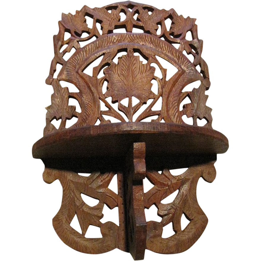 Vintage Filigree Carved Wooden Wall Shelf