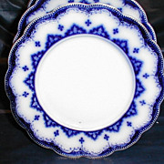 Lovely Flow Blue Salad Plates (2 avail), ASTRAL, W. H. Grindley ca. 1891