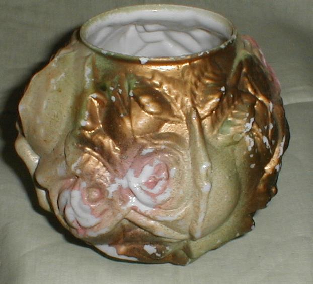 Small Milk Glass Rose Bowl Vase, Pastel Painted Goofus Glass