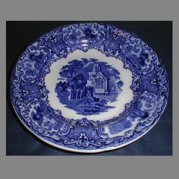 "Deep Blue Transferware 7 1/2"" Dessert Plate, ABBEY, George Jones & Sons"